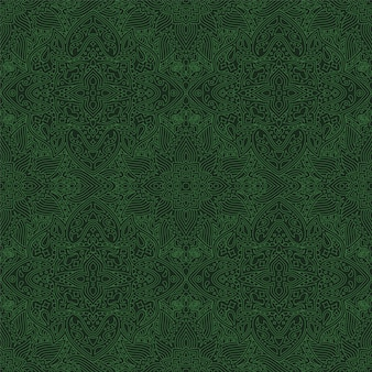 Abstract linear art with green seamless pattern
