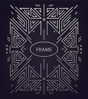 Abstract linear geometric background, retro frame,  template.