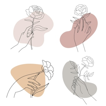 Abstract linear illustration flowers in female hands hand drawn illustration