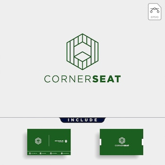 Abstract linear logo design and business card template
