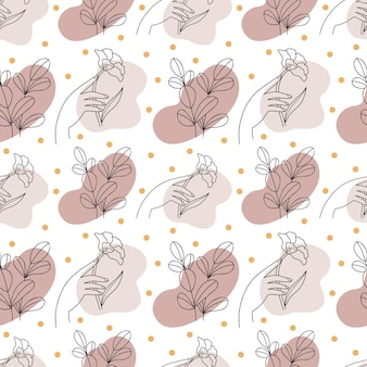 Abstract linear  pattern flowers in female hands hand drawn illustration