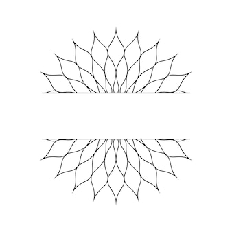 Abstract linear template in the form of a snowflake or a flower for the design of cards, invitations. vector illustration.