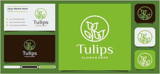 Abstract linear tulip logo flower bud symbol with round concept spa salon cosmetic or boutique