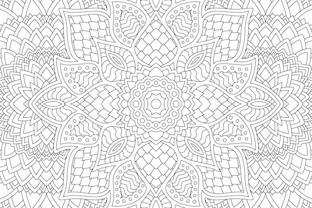 Abstract linear zen design for coloring book page