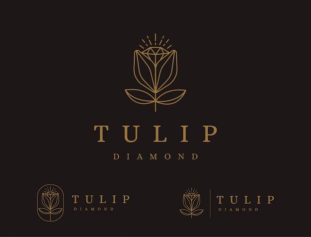チューリップの花のロゴの抽象的な線画