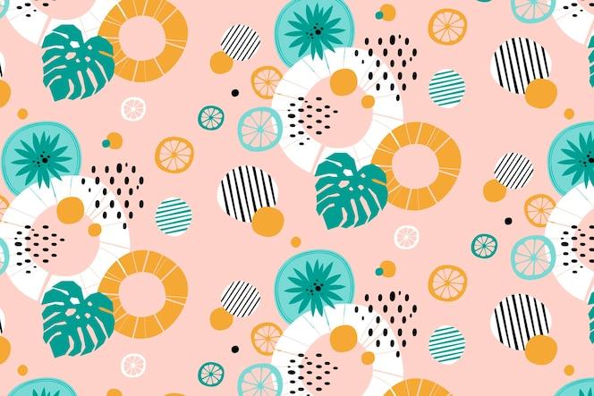 抽象的な線とドットの夏の背景パターン