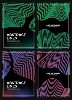 Abstract lines background set