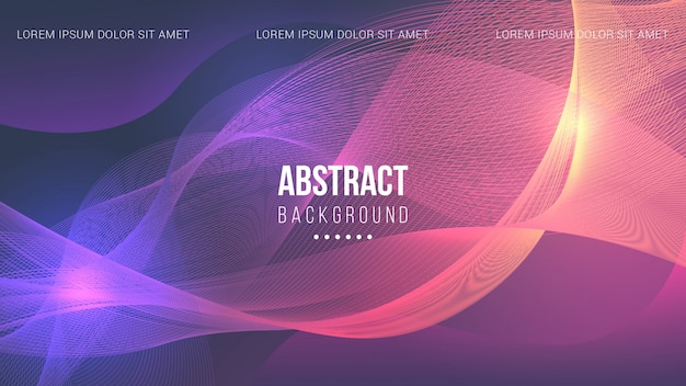 Abstract lines background with purple and orange light
