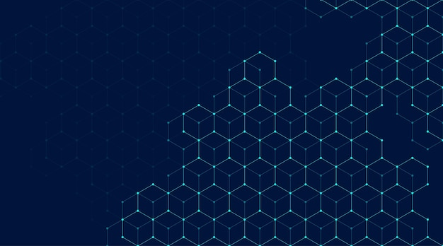 Abstract lines and dots connect background with hexagons.