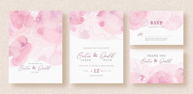 抽象的な線は結婚式の招待状に水彩を形作ります