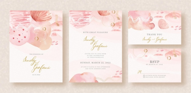 Abstract lines and shapes watercolor on wedding invitation card Premium Vector