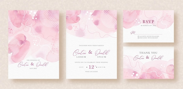 Abstract lines shapes watercolor on wedding invitation