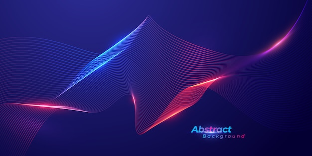Abstract lines wave background. technology background.