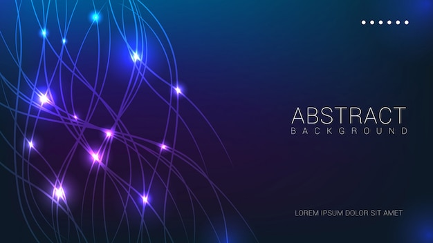 Abstract lines with blue lights background