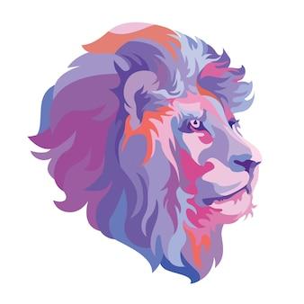 抽象的なライオンヘッド動物ロゴ