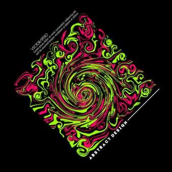 Абстрактное жидкое искусство с сочетанием светло-зеленой и розовой краски векторная иллюстрация