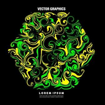 Абстрактное жидкое искусство с гексагональной формой из светло-зеленой и желтой краски