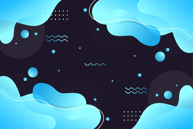 Abstract liquid background template. memphis style gradient of blue light.