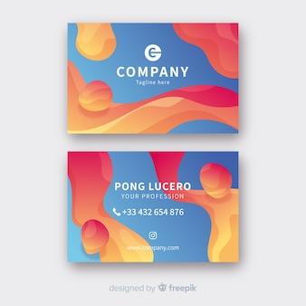 Abstract liquid business card template