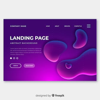 Abstract liquid effect landing page template