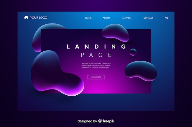 Abstract liquid effect landing page