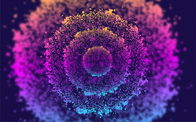 Abstract liquid flow particles circle background