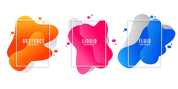 Abstract liquid fluid shape banners in different colors