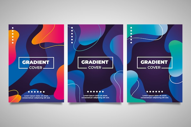 Abstract liquid gradient stains cover collection