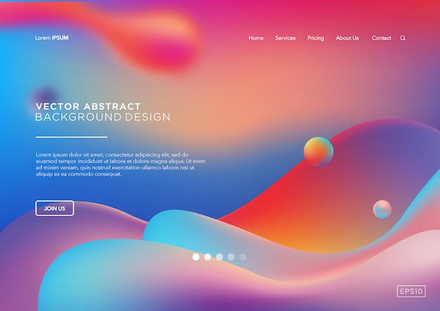 Abstract liquid landing page or web template
