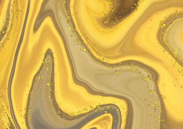 Abstract liquid marble background with gold glitter elements