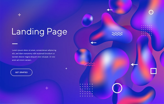 Abstract liquid modern graphic element. dynamical colored forms and waves. template for the design of a website landing page