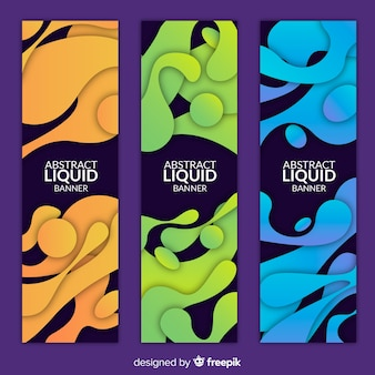 Abstract liquid shape banner collection