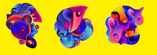 抽象的な液体形状流体iiイラストセット