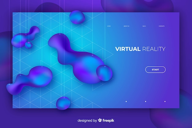 Abstract liquid shape landing page template