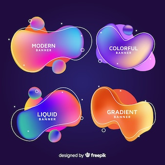 Abstract liquid shapes banners