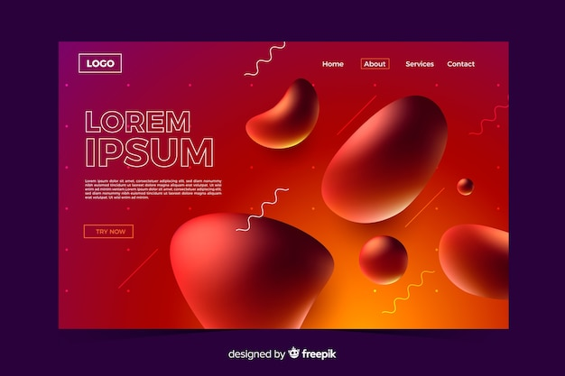 Abstract liquid shapes landing page template