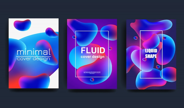 Abstract liquid vector shapes collection, modern colorful gradient backgrounds, fresh and clean design elements set.