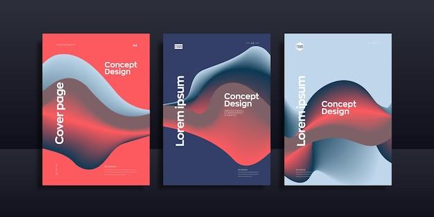 추상 액체 파 브로셔 디자인 서식 파일