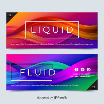 Abstract liquid waves banner set