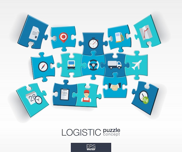 Abstract logistic background with connected color puzzles, integrated  icon.  concept with delivery, service, shipping, distribution, transport, market pieces in perspective.  illustration