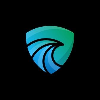 抽象的なロゴ、青と緑の抽象的な鳥のロゴテンプレート
