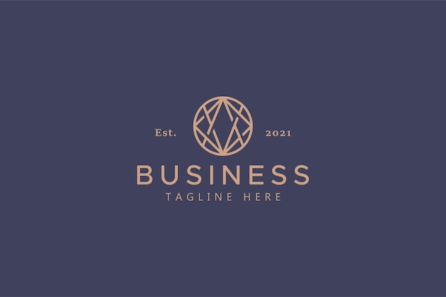 Abstract logo of business and company. universal and global sign and symbol. elegant gold color. trend circle shape geometric outline.