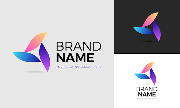 Abstract logo concept of three leaves forming a triangle in 3 colors. vector edited vectors