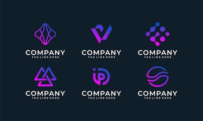 Pacchetto di progettazione di logo astratto