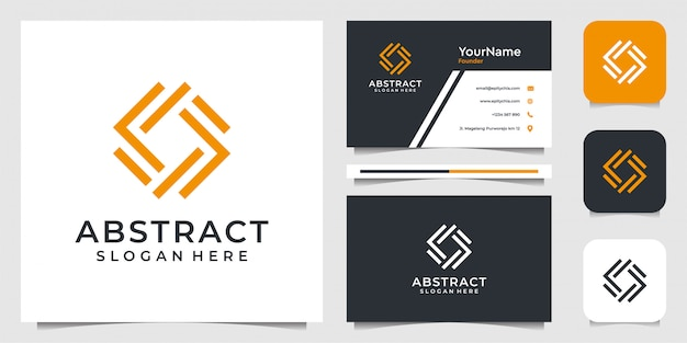 Abstract logo design in line art syle. suit of business, advertising, brand, icon,  illustration, and business card