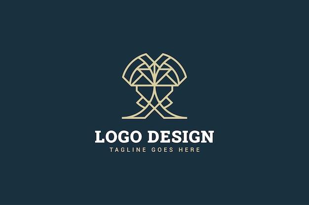 비즈니스 정체성에 대한 선 스타일 개념의 문자 x 모양으로 추상적 인 로고 디자인