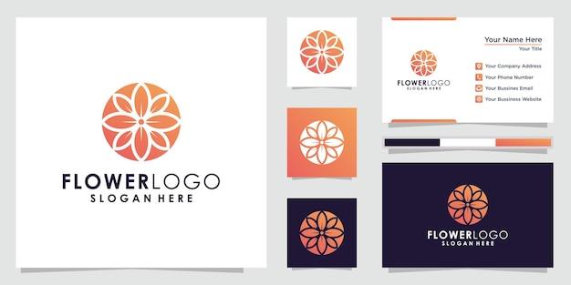 Абстрактный цветочный логотип по кругу в линейном стиле