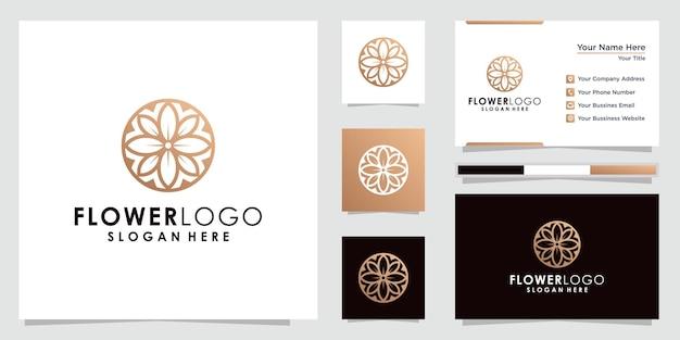 Абстрактный цветок логотипа в круге в линейном стиле.