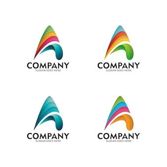 文字a +矢印の抽象的なロゴアイコンデザインテンプレート。カラフルな文字ロゴ、ベクトルテンプレート
