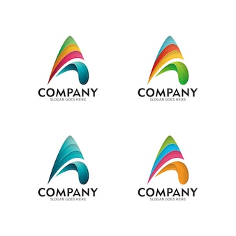 Abstract logo icon design template with letter a + arrow. colorful letter a logo, vector template